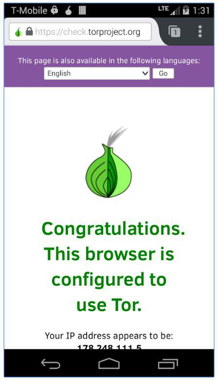 Congratulations Connected To Tor Message