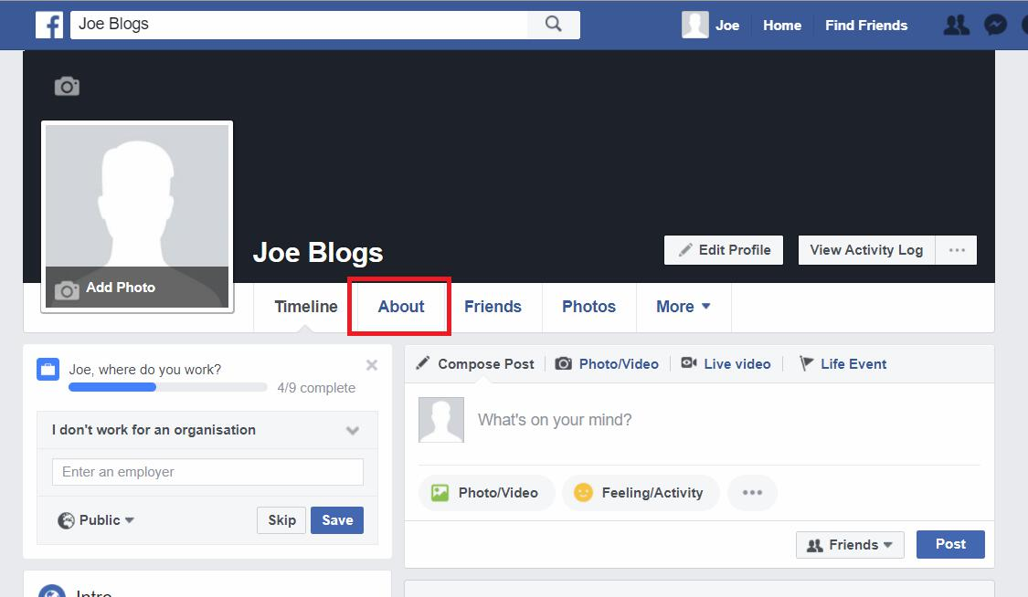 Facebook profile about tab