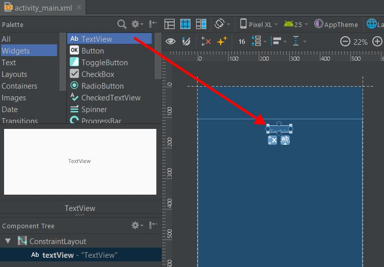 Add TextView in Android Studio