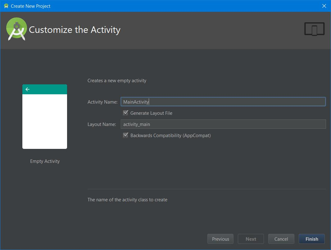 Customize activity in Android Studio