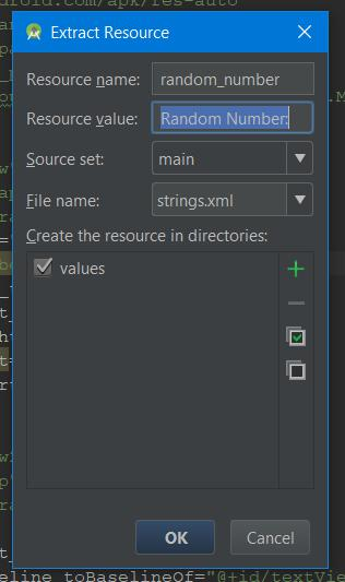 Extract resource dialog in Android Studio