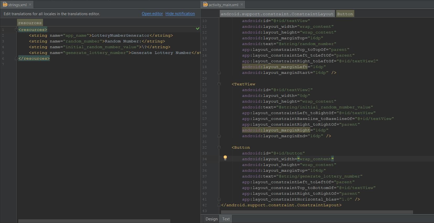 Extracted strings and layout XML side-by-side in Android Studio