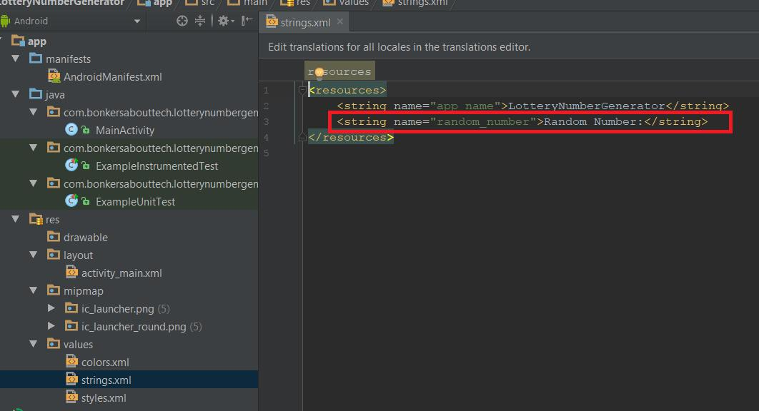 Strings XML file in Android Studio