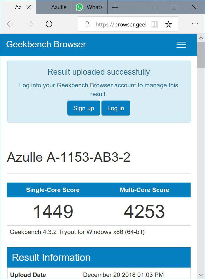 Azulle Byte3 GeekBench CPU