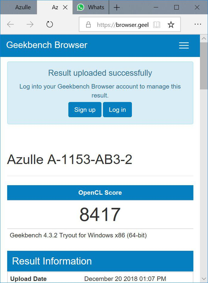 Azulle Byte3 GeekBench Graphics