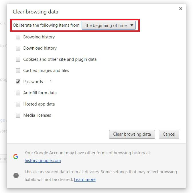 Chrome Clear Browsing Data From Beginning Of Time