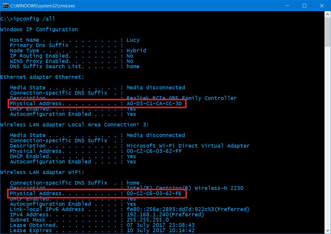 Windows 10 command prompt ipconfig/all