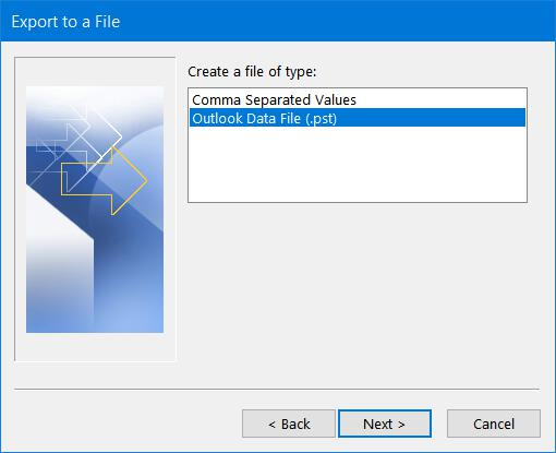 CSV or Outlook Data File options