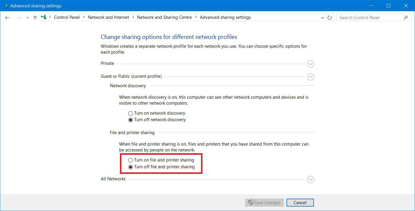 Turn Off Printer Sharing Windows 10 Control Panel