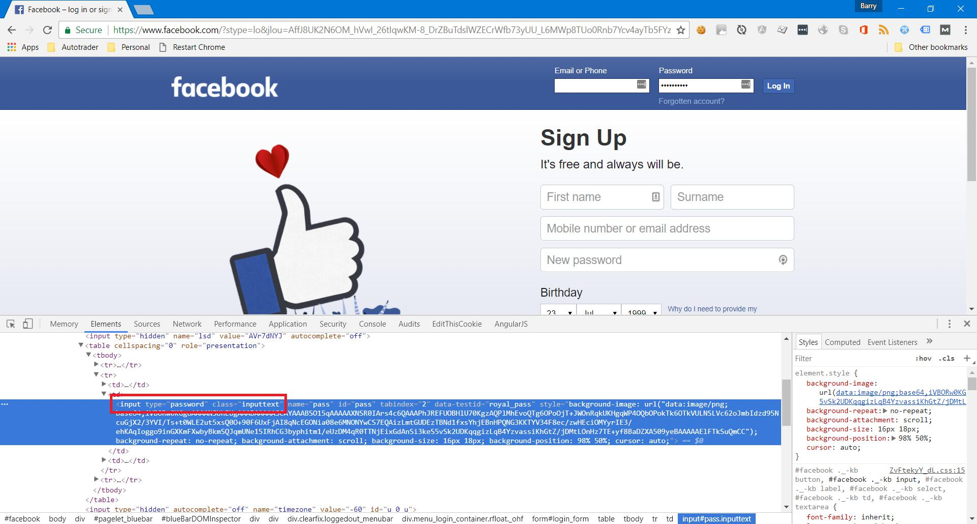 Facebook inspect element password input field