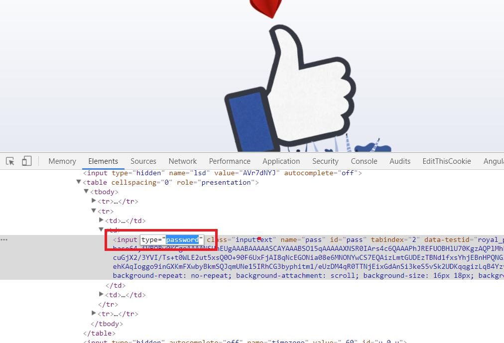 Facebook inspect element highlight input field type