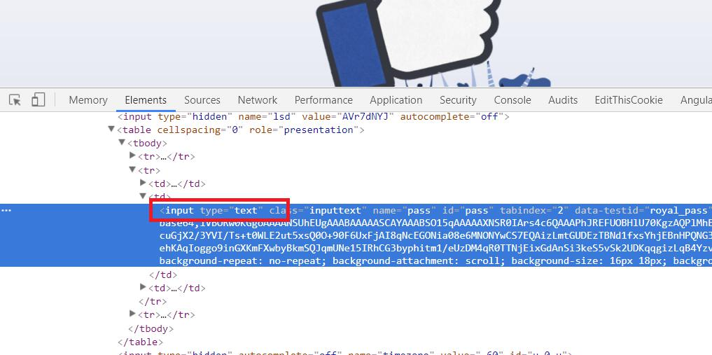Facebook modify password input field type to text type