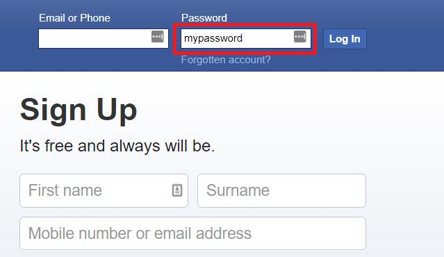 Facebook password input field without asterisks