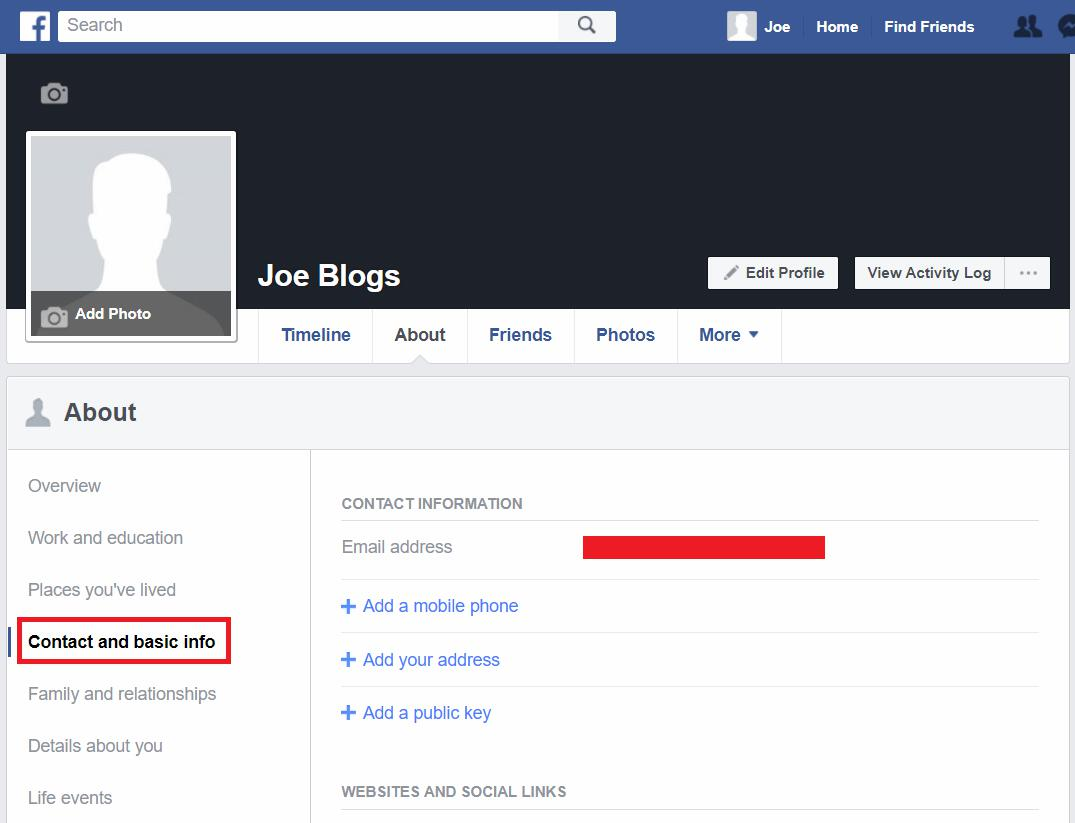 Facebook profile Contact and basic info