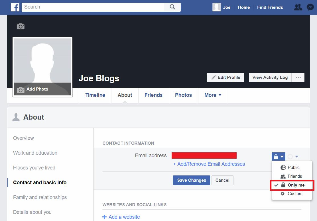 Facebook profile email visibility