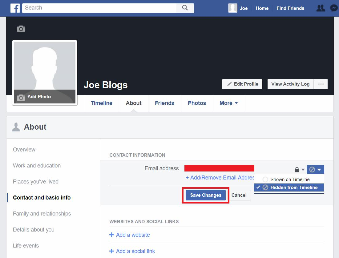 Facebook profile remove email address from timeline