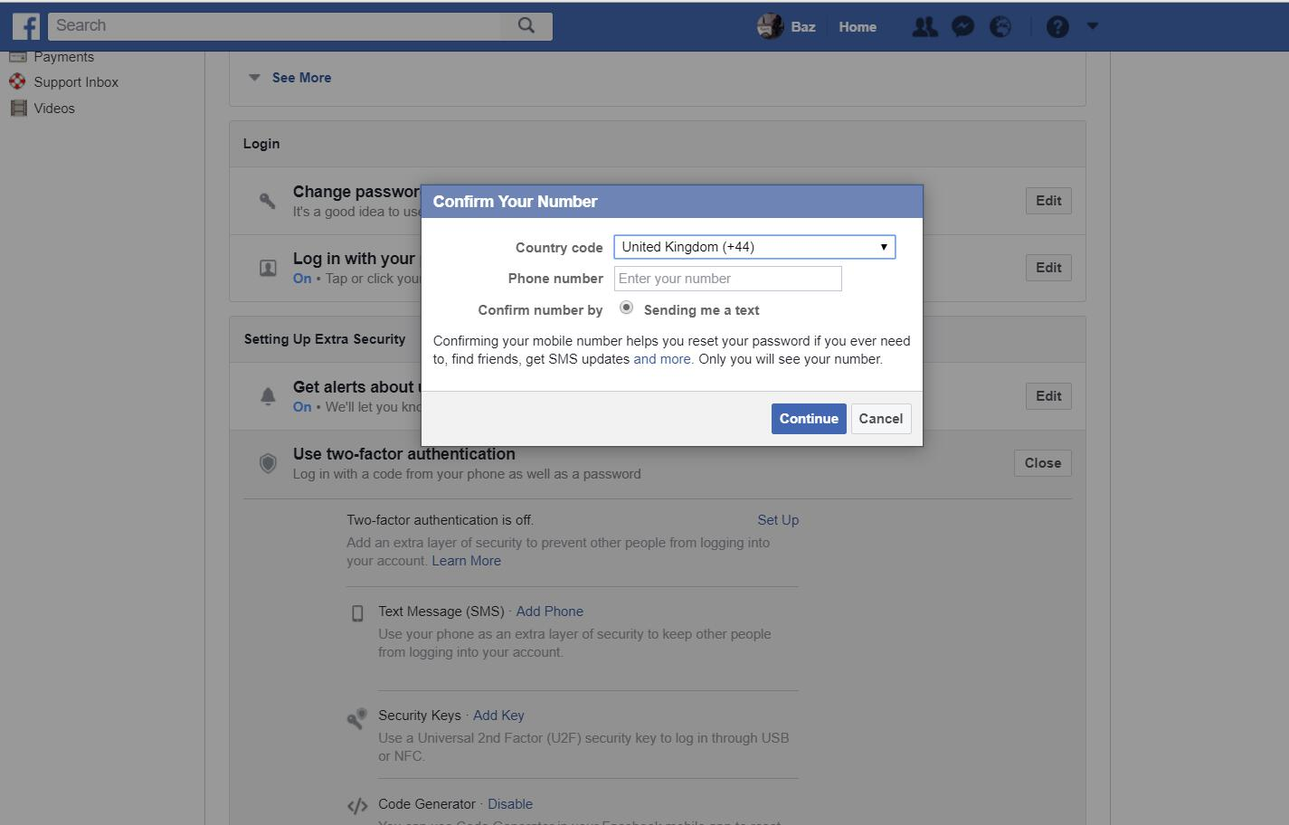 Facebook settings - confirm number