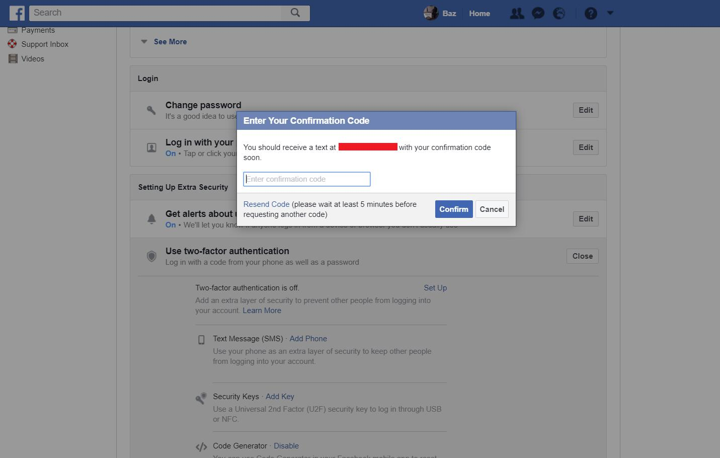 Facebook settings - enter two factor code