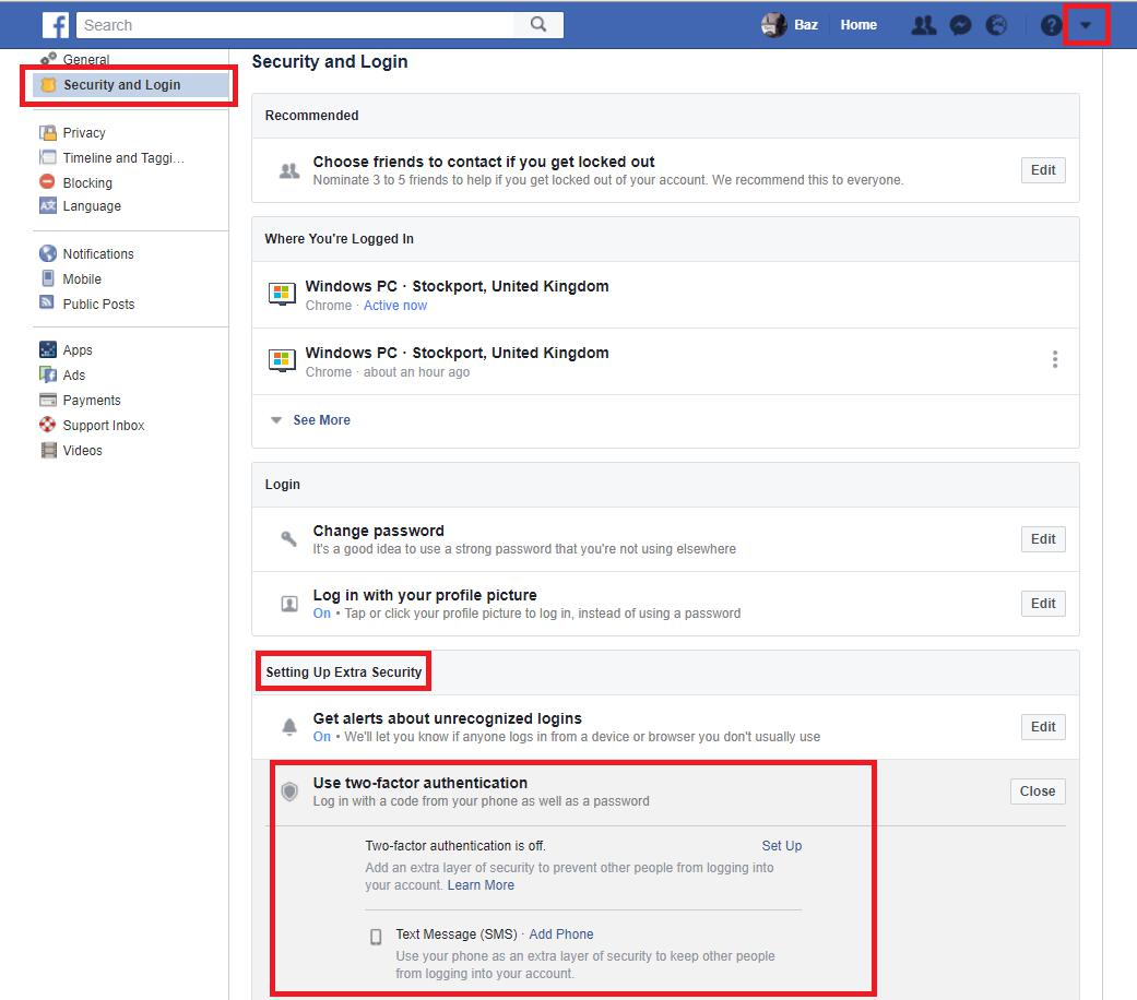 Facebook settings - security and login