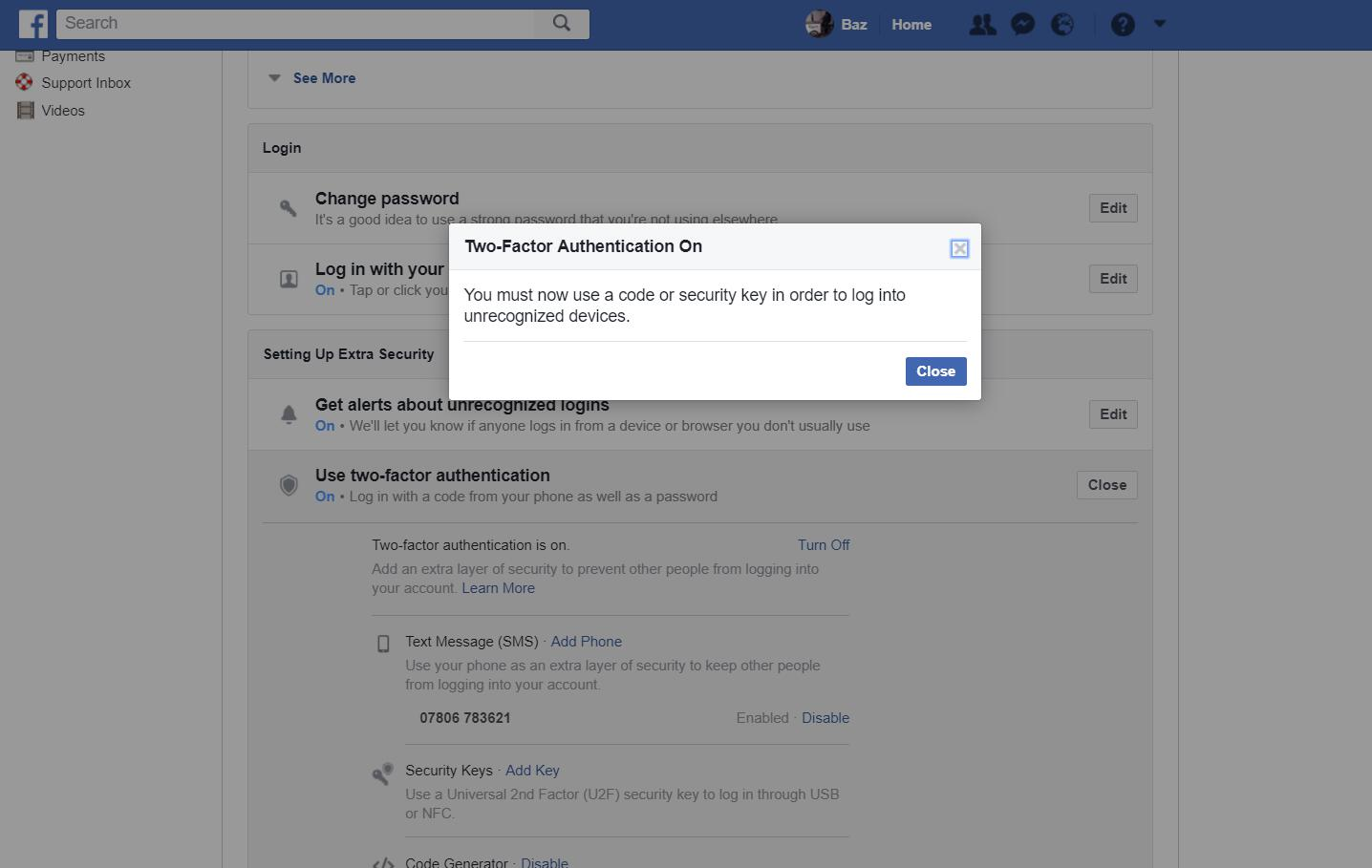 Facebook settings - two-factor authentication enabled