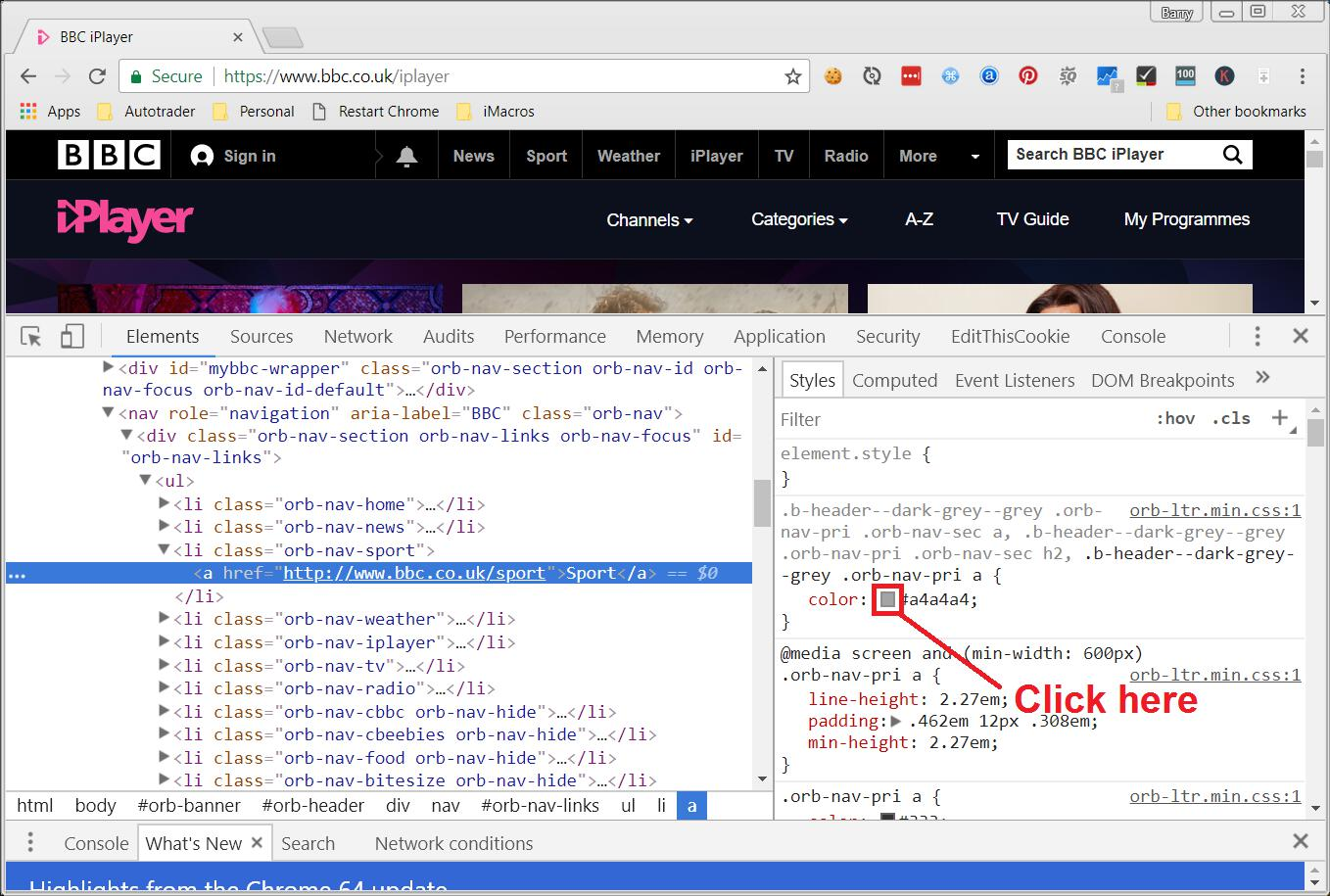 Finding CSS color in devtools