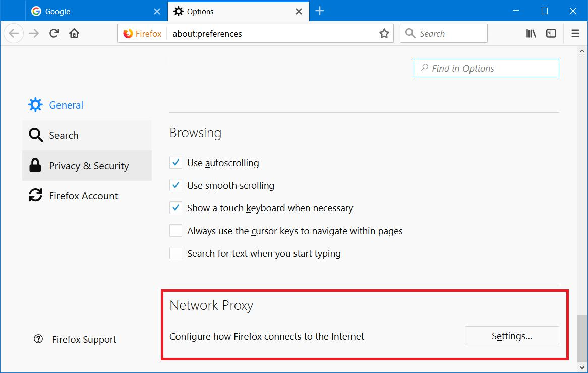 Firefox network proxy section
