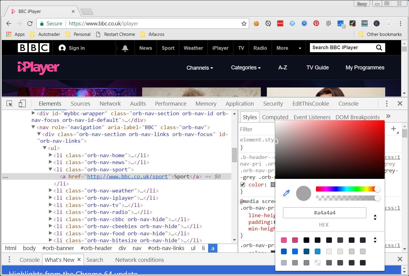 Google Chrome color picker