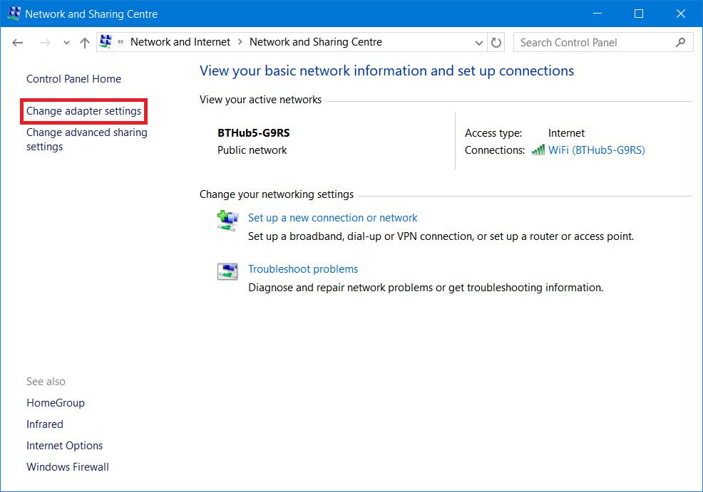 Network and sharing centre - change adapter settings