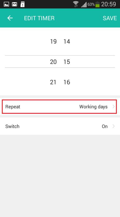 Lombex app repeat timer function