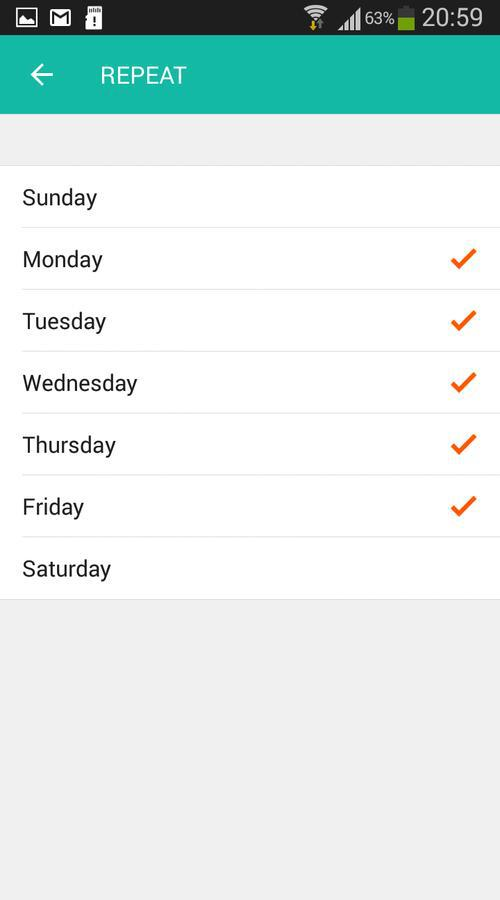 Lombex app select timer days