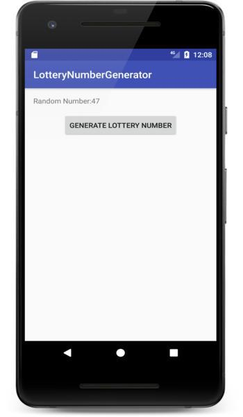 Lottery number generator app screenshot