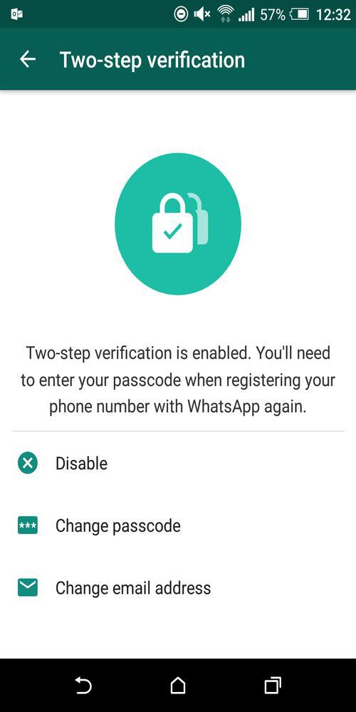 Two-Step Verification Enabled On WhatsApp