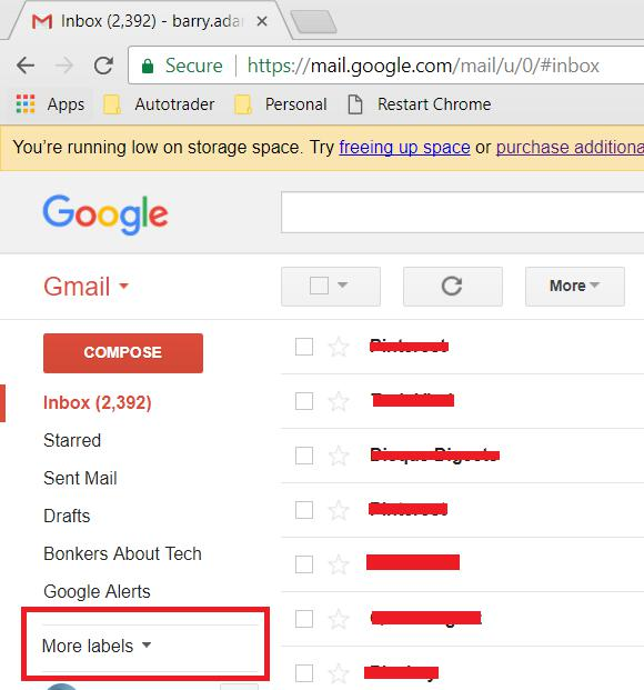 More labels option in Gmail