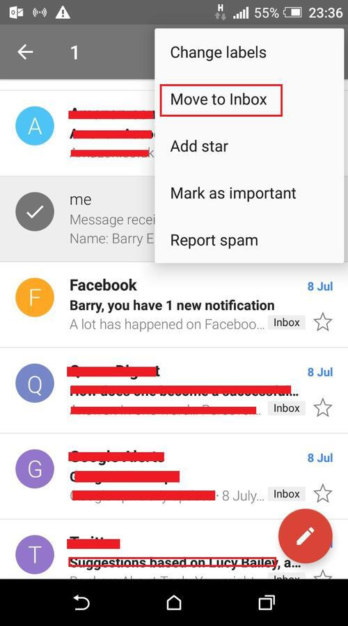 Move to inbox in Gmail app