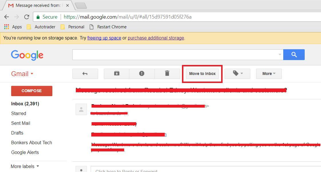 Move to inbox option 1
