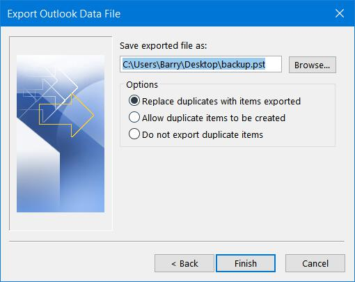 Naming the Outlook Data File