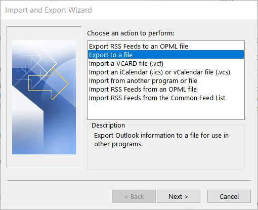 Outlook output to file