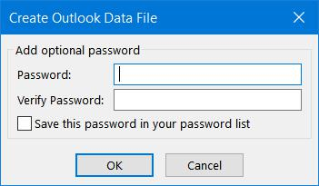 Password protect Outlook Data File