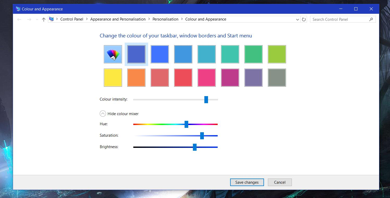 Color And Appearance Windows 10 Control Panel