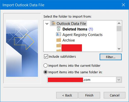 Select folders to import in Outlook