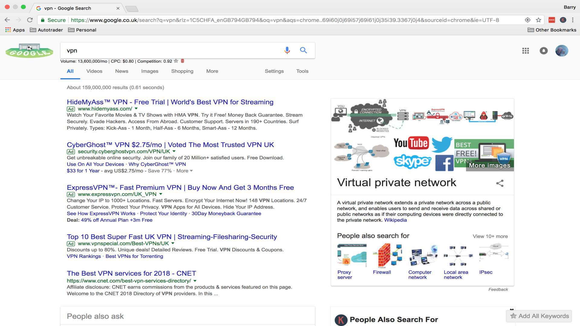 VPN Search Engine Results Pages