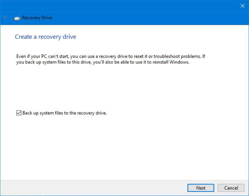 Windows 10 Safe Mode Create Recovery Drive