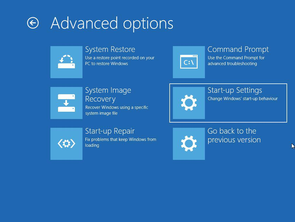Windows 10 Safe Mode Startup Settings