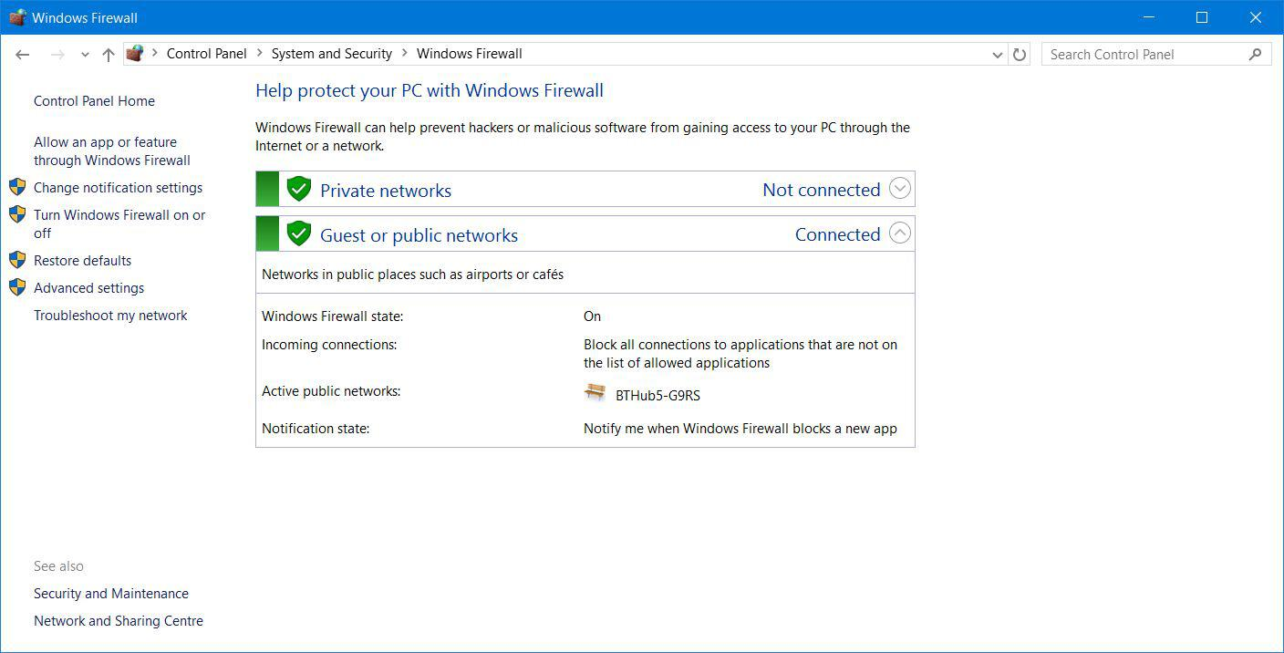 Windows 10 Firewall Settings