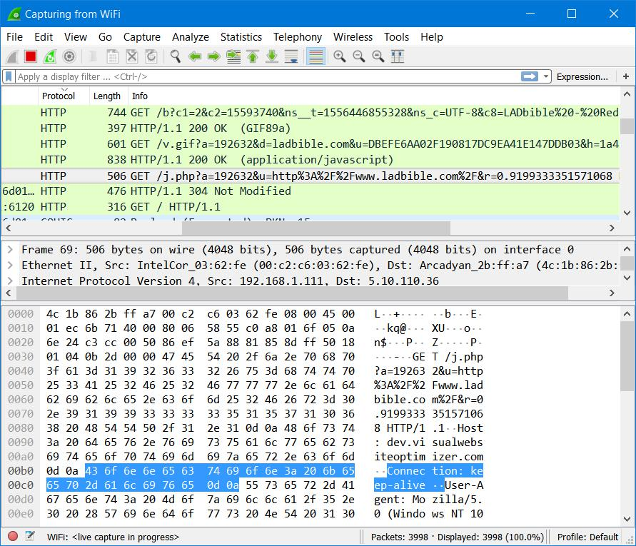 Wireshark Unencrypted